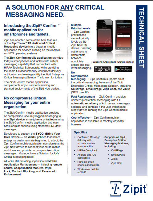 Zipit Confirm Mobile App Product Sheet