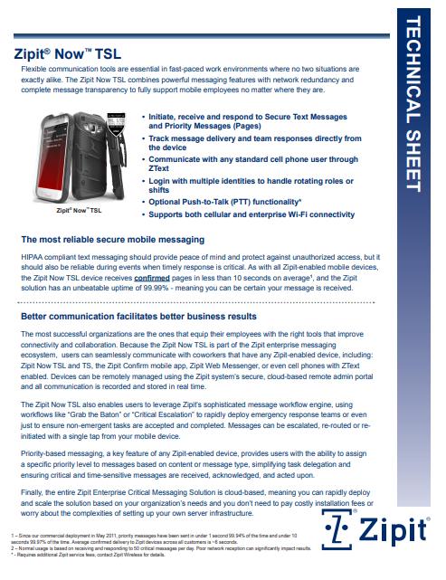 Zipit Now TSL Device Product Sheet